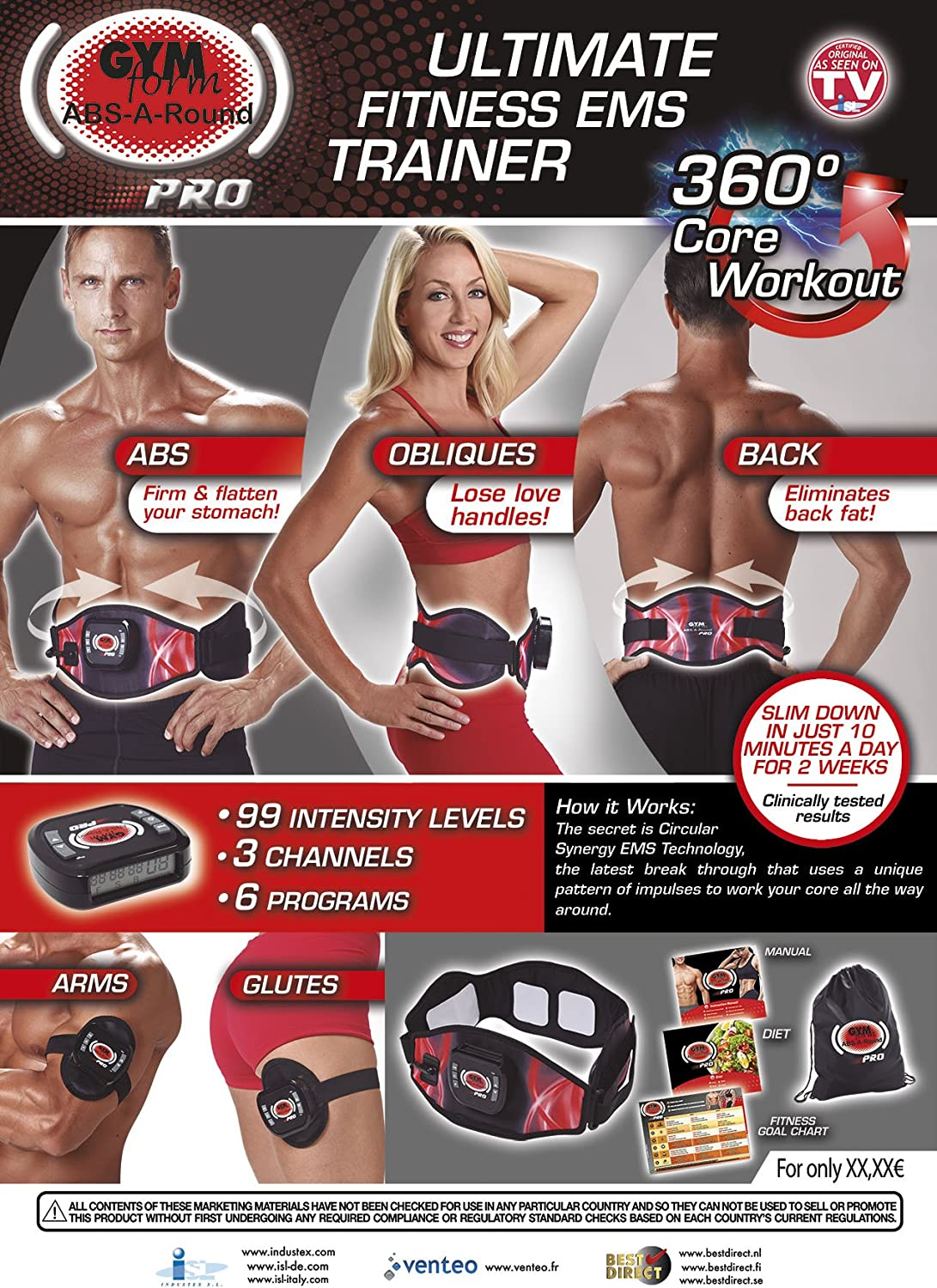 BEST DIRECT Gymform Abs-a-Round Fat Reducing System for Strong Abs Muscles Belts Vest EMS Stimulator Use at Home Easy and Fast Fitness Machine for Men and Women