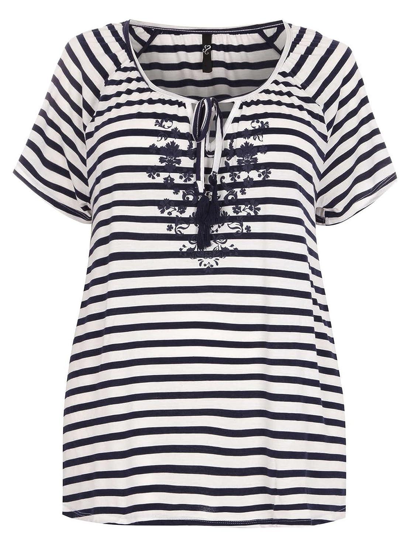131fce1fdfa Highstreet Outlet Plus Size Ladies Navy   White Stripe Floral Tassel Neck  Top T-Shirt 14-28 (16)  Amazon.co.uk  Clothing