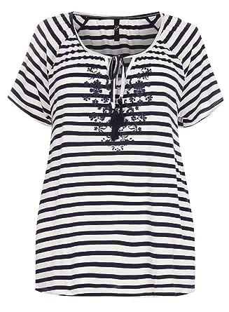 85fd6e57480 Highstreet Outlet Plus Size Ladies Navy   White Stripe Floral Tassel Neck  Top T-Shirt
