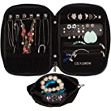 Lily & Drew Travel Jewelry Storage Carrying Case Jewelry Organizer Removable Pouch (V1 Black)