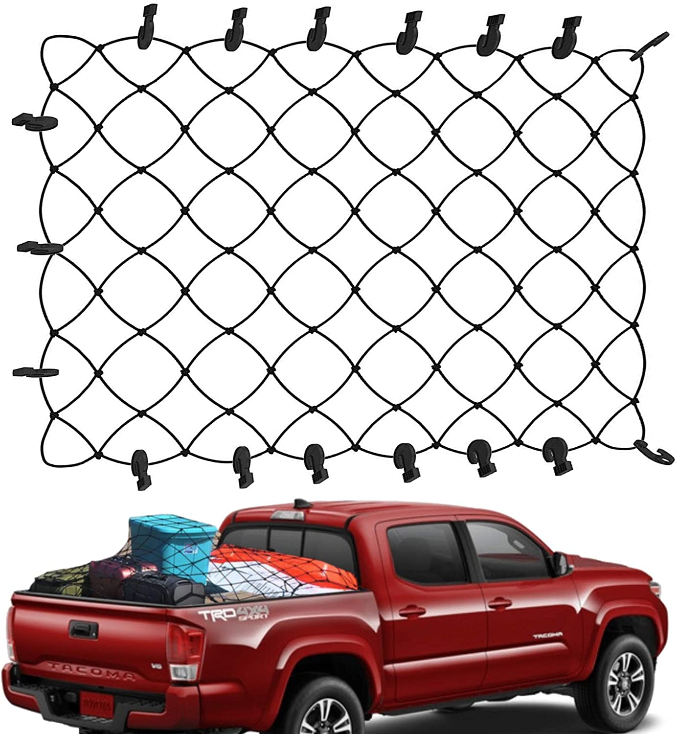 Trailer SUV with 12 Aluminum Alloy D-Shaped clip carabiner Universal Heavy Duty Car Rear Organizer Net Pickup Bed 4/' x 6/' Super Duty Bungee Cargo Net Stretches to 10 x 14 for Truck Bed Trunk