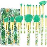 Tropical Makeup Brushes Docolor 14 Pieces Professional Makeup Brushes Set Premium Synthetic Kabuki Foundation Blending Contou