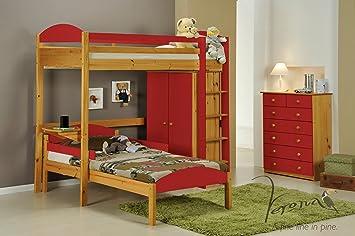 Etagenbett Design : Verona design maximus l form holz hochbett etagenbett rot: amazon