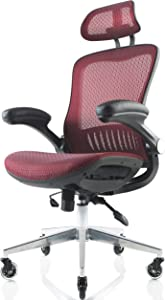 NOUHAUS ErgoFlip Mesh Computer Chair - Burgundy Rolling Desk Chair with Retractable Armrest and Blade Wheels Ergonomic Office Chair, Gaming Chairs, Executive Swivel Chair/High Spec Base
