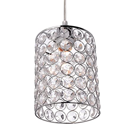 Globe Electric 65142 Angelica 1-Light Cylindrical Plug-in Pendant, Polished Chrome Finish, Caged Crystal Shade, Clear 15ft Cord, in-Line On Off Rocker Switch