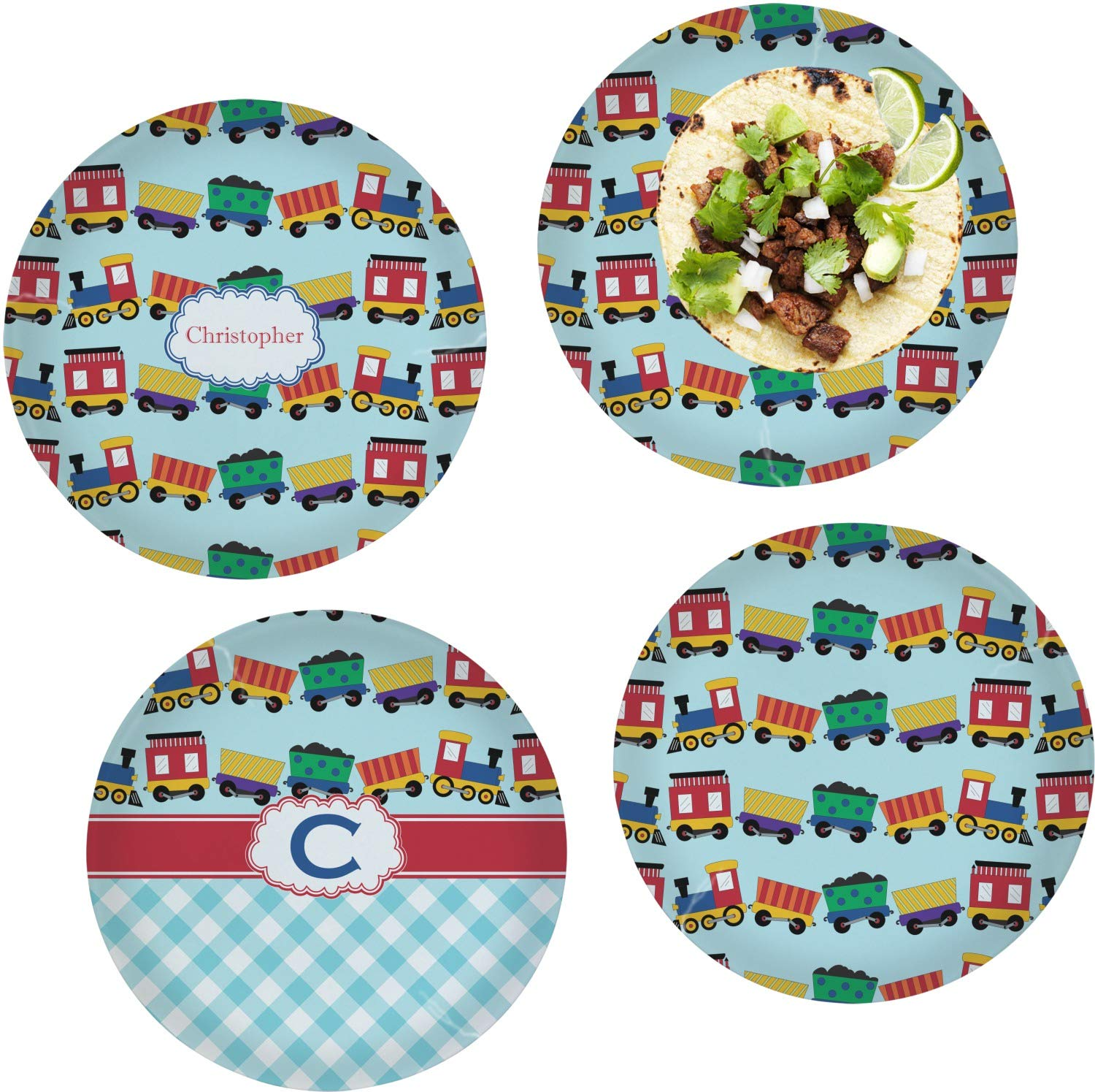 Trains Set of 4 Glass Lunch/Dinner Plate 10'' (Personalized)