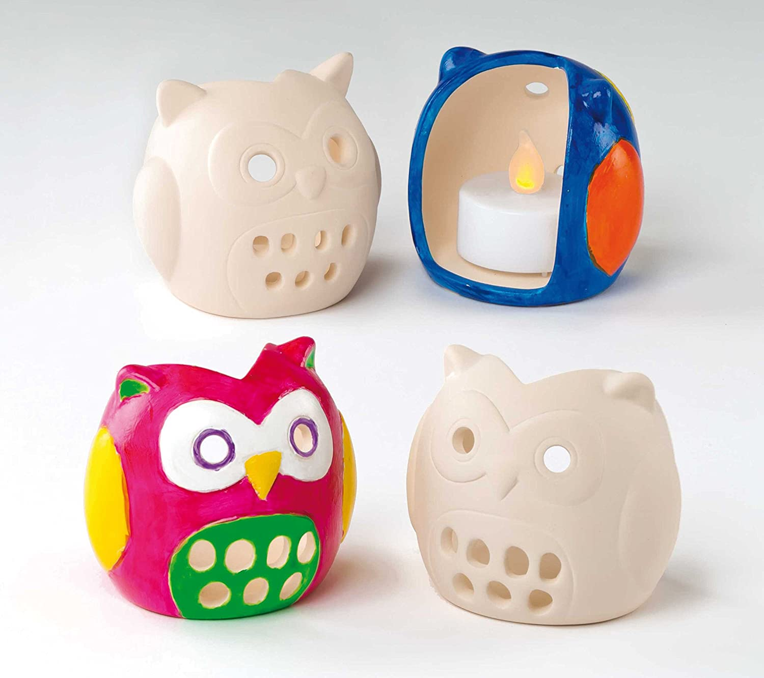 Baker Ross Paint Your Own Tealight Holder (Box Of 4) Owl Shaped Ceramic Tealight Holders For Kids To Paint & Decorate