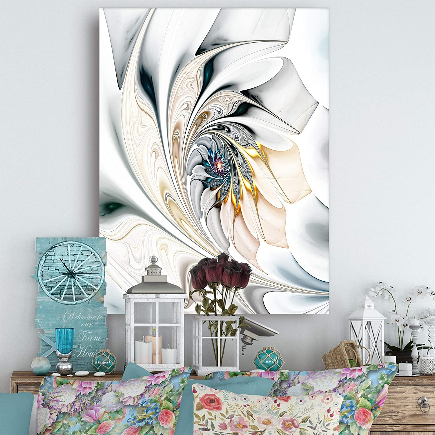 Amazon Com Design Art White Stained Glass Floral Wall Art Canvas 30 X 40 Posters Prints