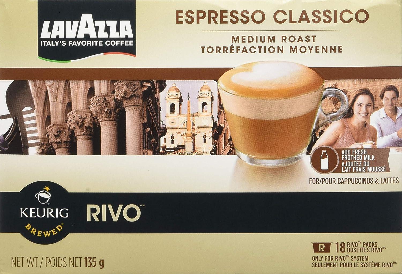 Lavazza Espresso Classico for Keurig Rivo System,2-18 packs 36-0.26oz