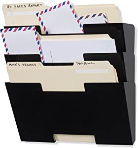 Wallniture Lisbon Wall File Holder Organizer for Office Organization and Storage, 3-Tier Mail and Magazine Holder Metal Black