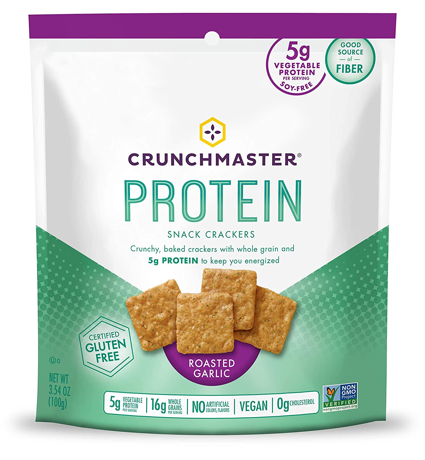Crunchmaster Protein Snack Crackers, Roasted Garlic, 3.54 Ounce
