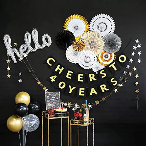 40th Birthday Decorations by Hombae, 40th Bday Décor for Women or Men, 40th Wedding Anniversary Decorations, 40 Years Old Party Supplies, Cheers to 40 ...