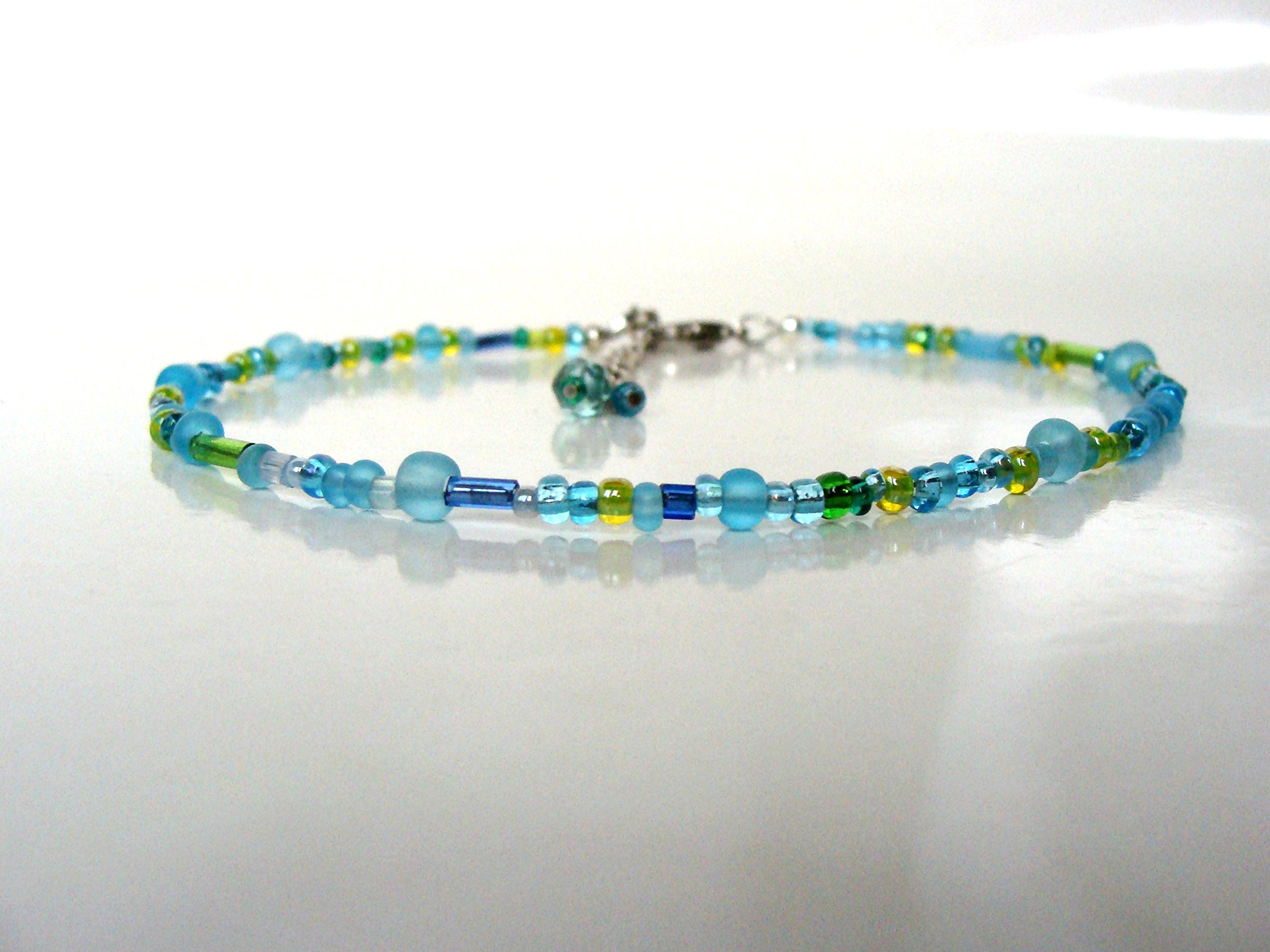 ngacraft Blue green glass bead anklet, mixed glass, sea and sky colors, adjustable, fun summer beach jewelry, handmade, Let Loose Jewelry, under 15