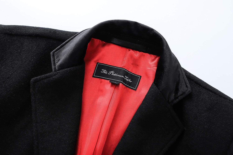 Hommes Noir Long Laine Déguisé Manteau Chaud Hiver Mod Cromby Velours Col