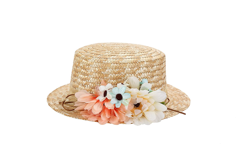 bf1be974bebe4 Sombrero Canotier de Vestir con Cinta y Flores - Ideal para Bodas