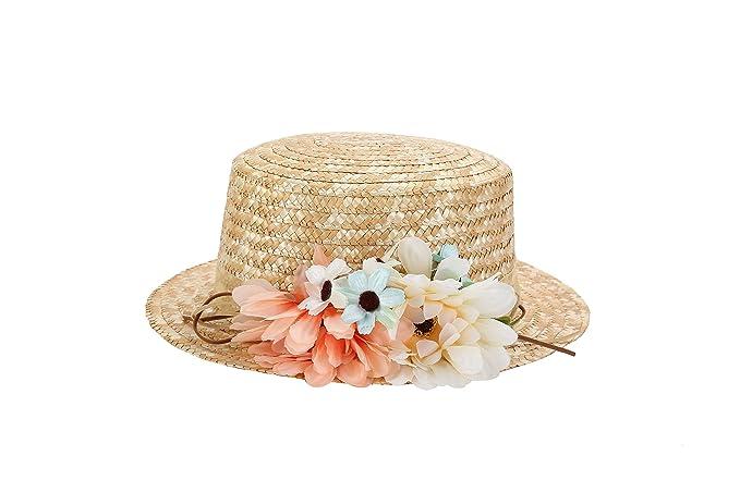 Sombrero Canotier de Vestir con Cinta y Flores - Ideal para Bodas ... fa592e38e97