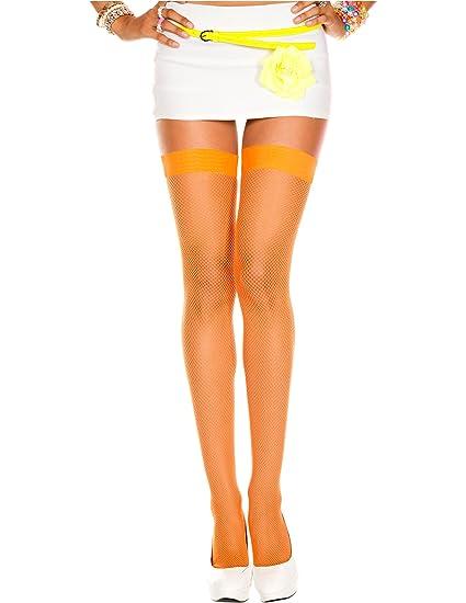 22aee5afeb630 Amazon.com: Fishnet Orange Thigh High, One Size: Clothing
