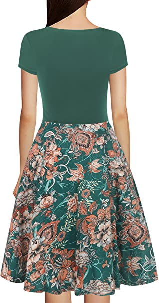 Women's Criss-Cross V-Neck Cap Floral Casual Work Party Tea Swing Dress