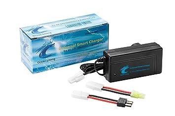 Cargador inteligente para baterías NiMH/NiCd de 6,0 V-12 V de coches RC, barcos etc, de Ocean Loong, con salida 2 A y conector adaptador Traxxas