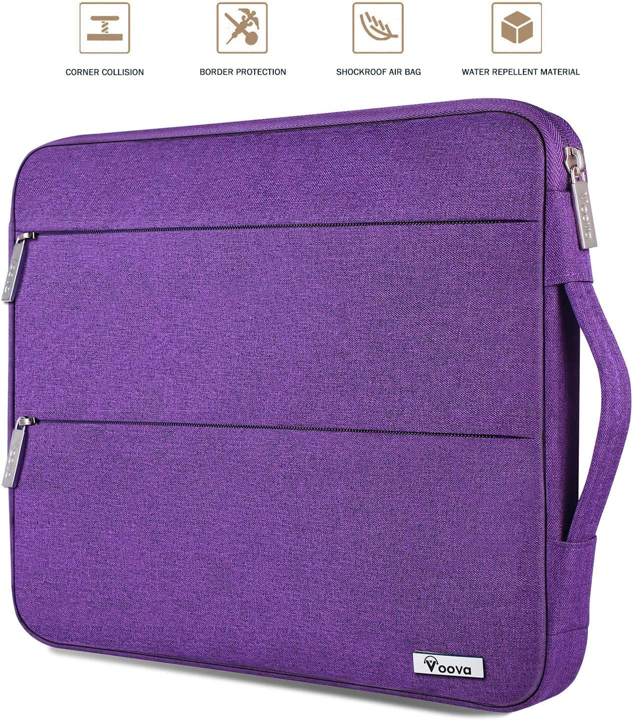 Voova 13 13.3 Inch Laptop Sleeve Case Computer Bag Compatible with MacBook Air/MacBook Pro 13, 13.5 Surface Book 2 / Laptop 3, 13 XPS/Chromebook Notebook Tablet Cover with Handle for Women, Purple