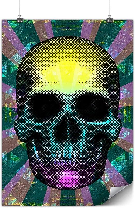 Wellcoda Coloré Pixel Art Crâne Affiche Colore A0 119cm X
