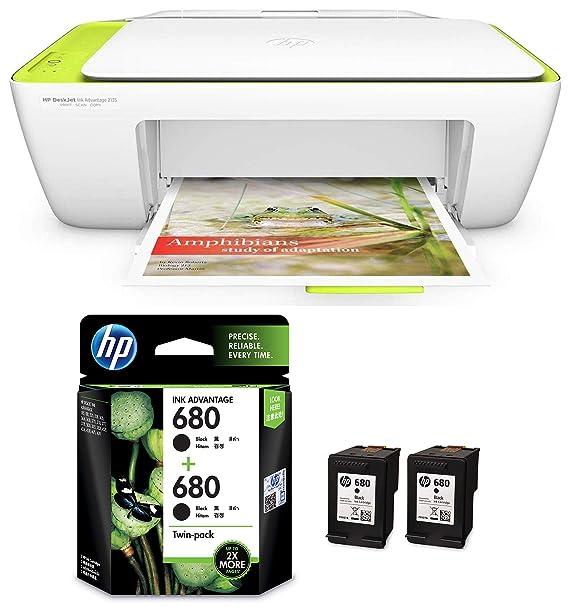 HP DeskJet 2135 All in One Ink Advantage Colour Printer  amp; HP 680 Black Ink Cartridges Twin Pack  X4E79AA  Inkjet Printers