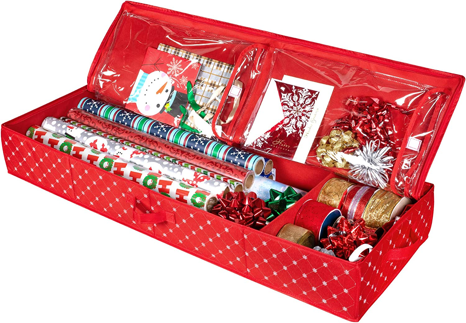 Christmas Storage Organizer - Wrapping Paper Storage and Under-Bed Storage Container for Holiday Storage of Gift Bags, Wrapping Paper, Ribbon, and Bows - Durable 600D Material