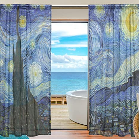 Amazon Com Seulife Window Sheer Curtain Van Gogh Starry Night Art Voile Curtain Drapes For Door Kitchen Living Room Bedroom 55x78 Inches 2 Panels Home Kitchen