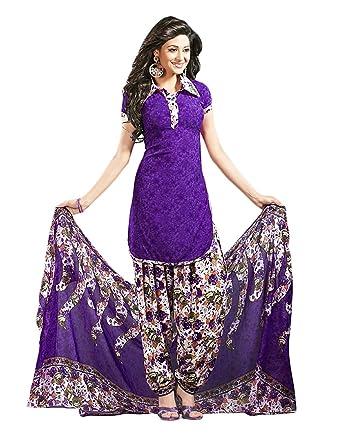 Amazon Com Divyaemporio Women S Faux Crepe Purple Salwar Suit Dress