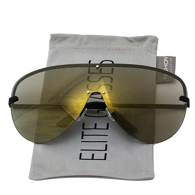 fac158cae83 Elite XXXL OVERSIZED Huge Big MASK SHIELD Half Face Owen Large Sunglasses  (Black Gold Mirror