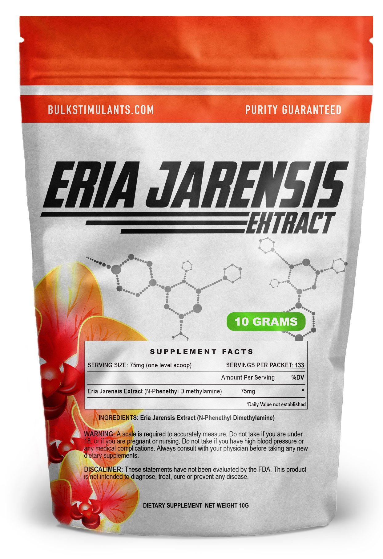 ERIA JARENSIS Extract - Bulk Powder 10 Grams 133 Servings - New Pea Supplement ✮ New Stimulant and NOOTROPIC ✮ Increase Focus Energy Cognitive Performance - Scoop Included by BulkStimulants.com