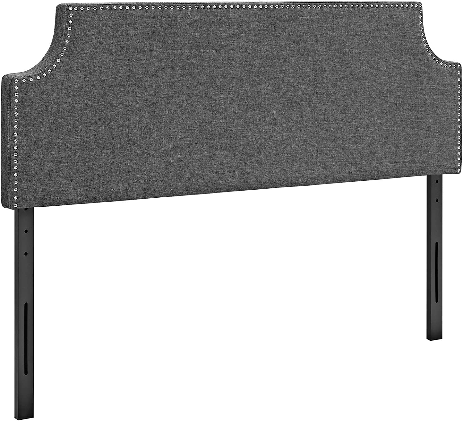 Modway Laura Linen Fabric Upholstered Queen Size Headboard with Cut-Out Edges and Nailhead Trim in Gray