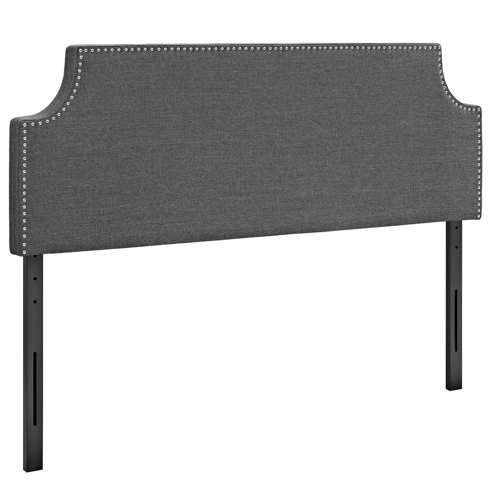 Modway Laura Upholstered Fabric Headboard Full Size With Cut-Out Edges and Nailhead Trim In Gray