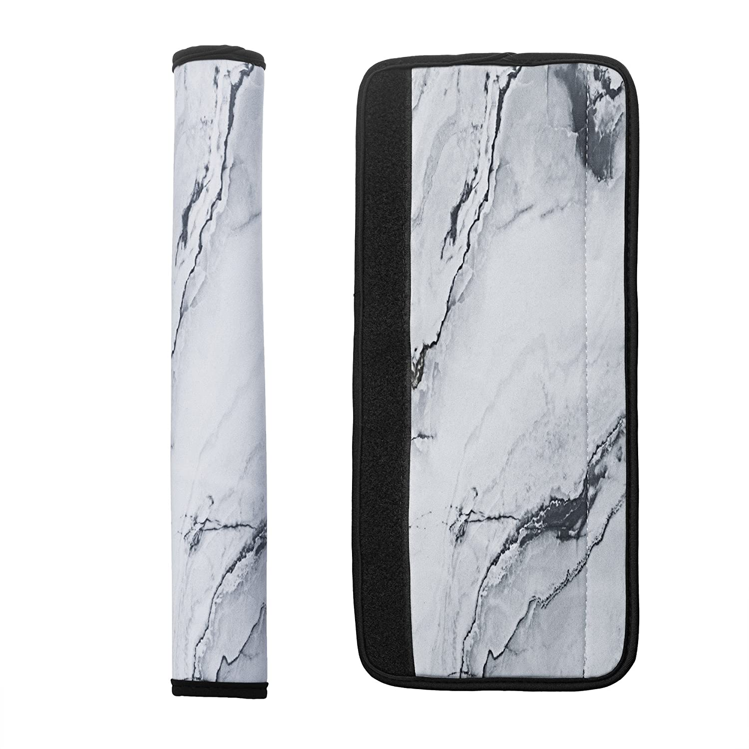 """Cosmos 1 Pair Neoprene Kitchen Appliance Refrigerator Handle Covers, Door Handle Covers, 13-1/2"""" Length (White Marble Pattern)"""