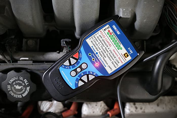 Innova 3160g is a Bluetooth automotive scanner that can read and erase Check Engine light codes