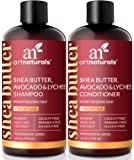 ArtNaturals Shea-Butter Shampoo and Conditioner Set - (2 x 16 Fl Oz / 473ml) - Moisturizing Silk - For Dry Damaged Hair - Avocado, Lychee, Rosehip, Aloe Vera and Coconut - Sulfate-Free