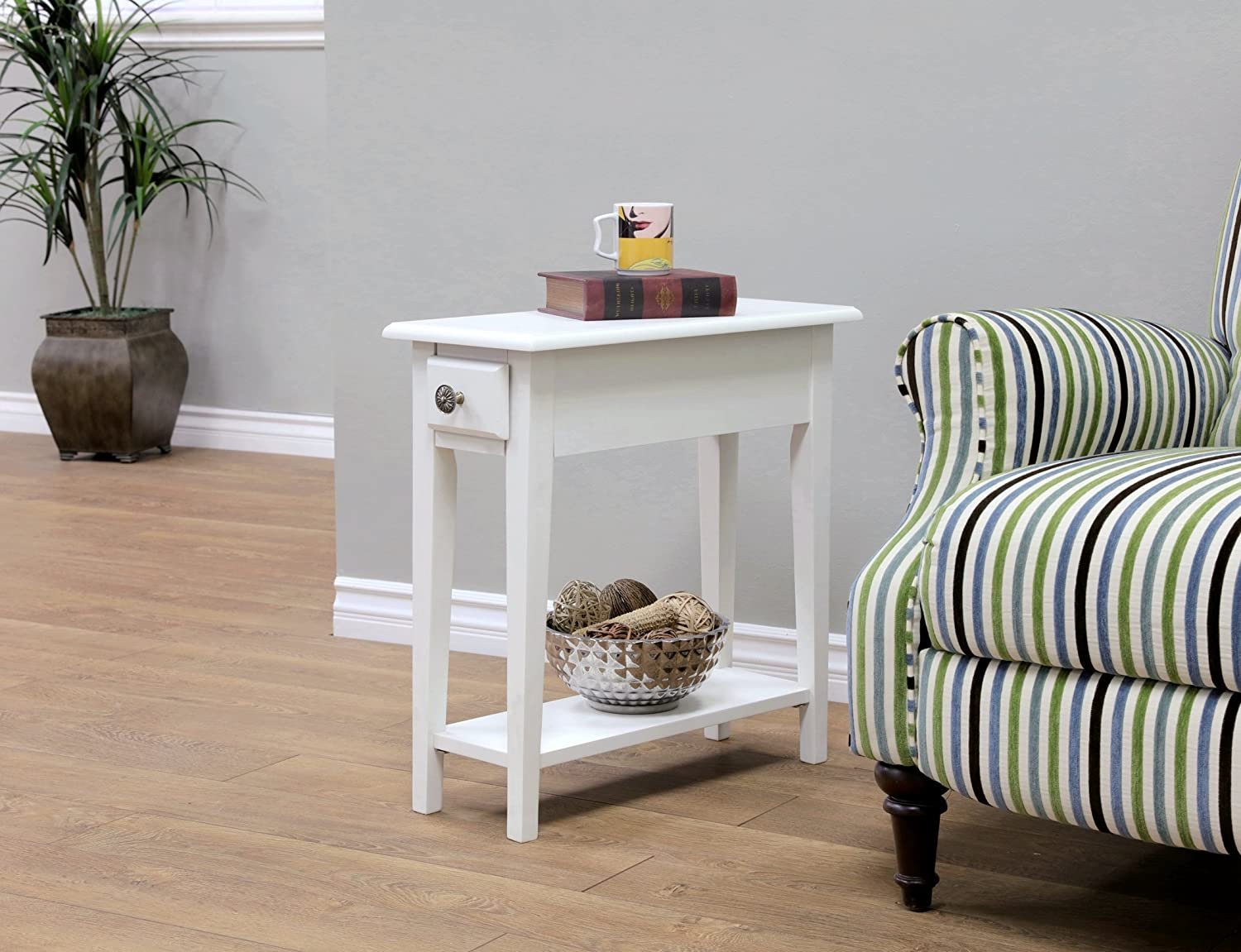 Frenchi Home Furnishing Chair Side Table with Storage, Queen, White Frenchi Furniture WH321