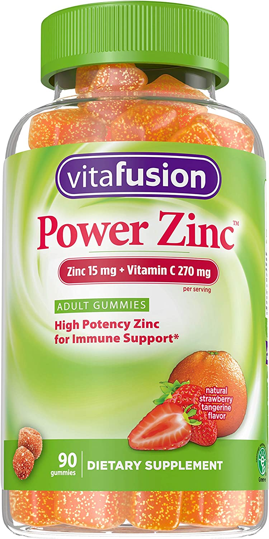 Vitafusion Power Zinc Natural Strawberry Tangerine Flavor Adult Gummies Dietary Supplement, 90 Count