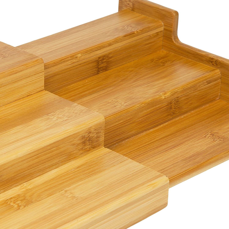 Larghezza Estensibile 22/cm/ woodluv Expendable Bamboo 3/Tier Spice Rack Holder Storage Step Shelf Organizer /38/cm