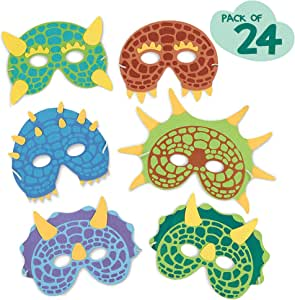 Dinosaur Birthday Party Supplies: 24 Dinosaur Party Masks - Masquerade and Halloween Dinosaur Face Mask - Foam Dinosaur Mask for Kids Themed Party ...