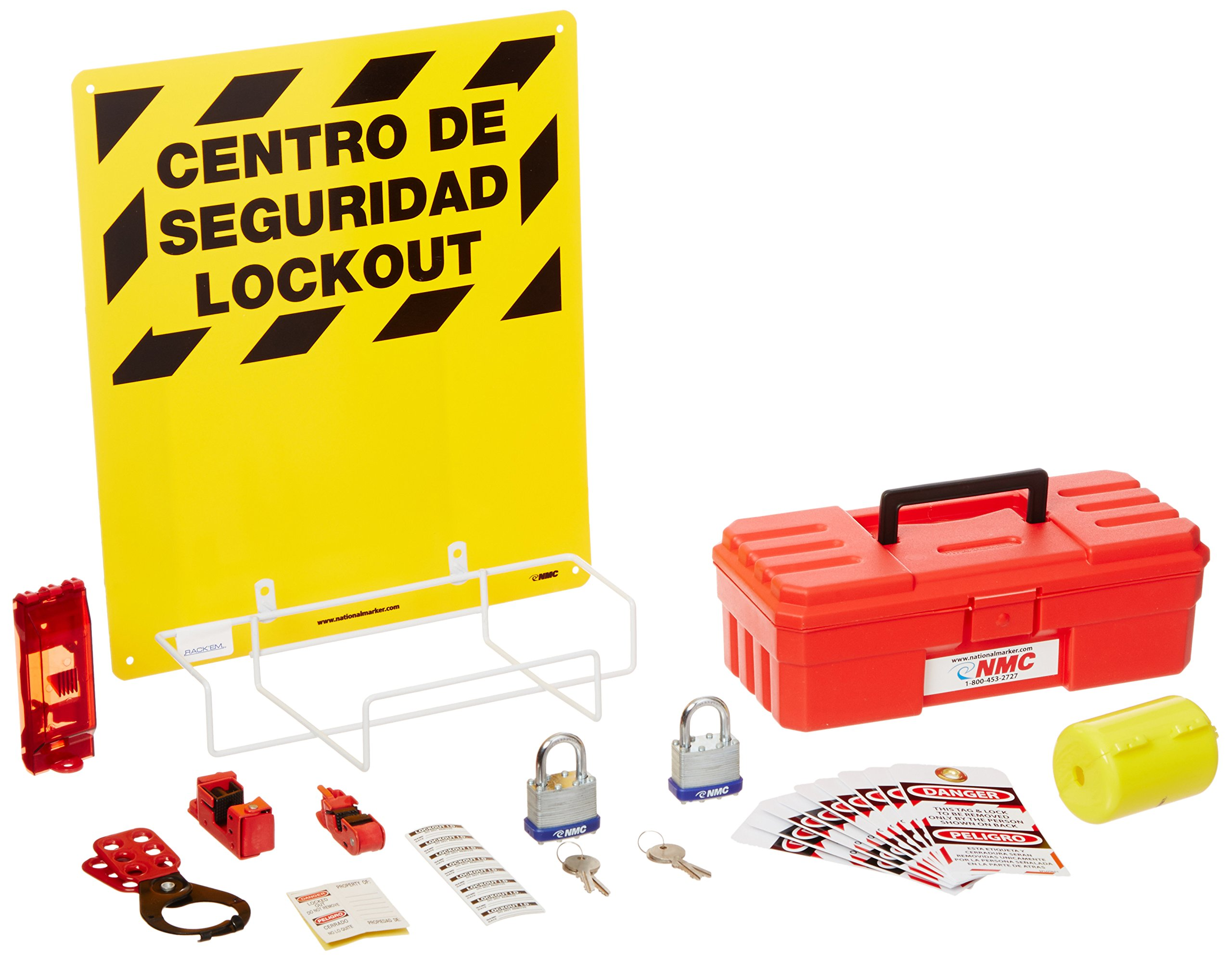 NMC LOK2BI 11 Piece Bilingual Electrical Lockout Center with Wire Basket, 16'' Length x 14'' Height, Yellow Board