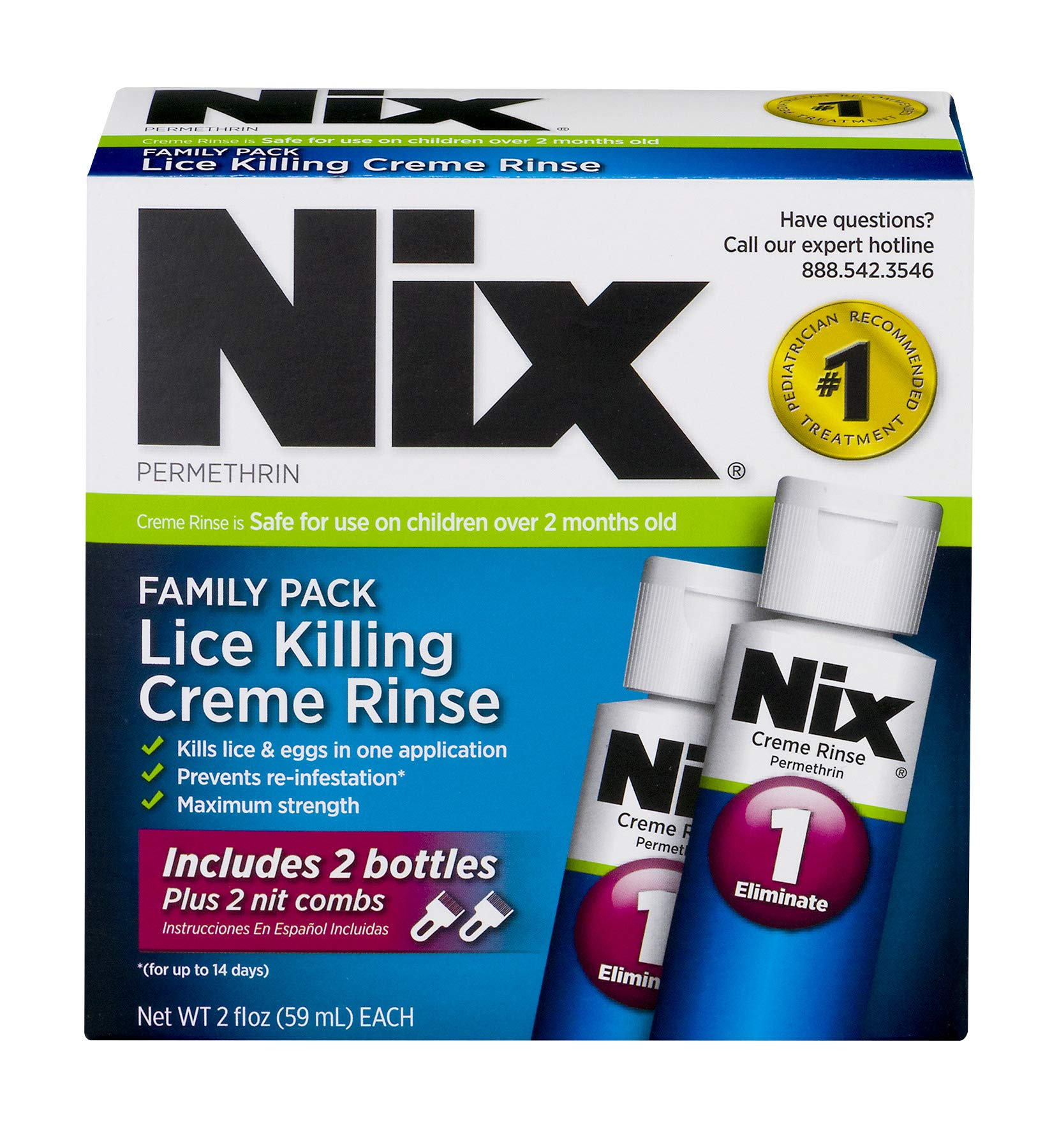 Nix Lice Killing Creme Rinse Family Pack | Includes Nit Combs | 2 Bottles | 2 FL OZ Each by NIX