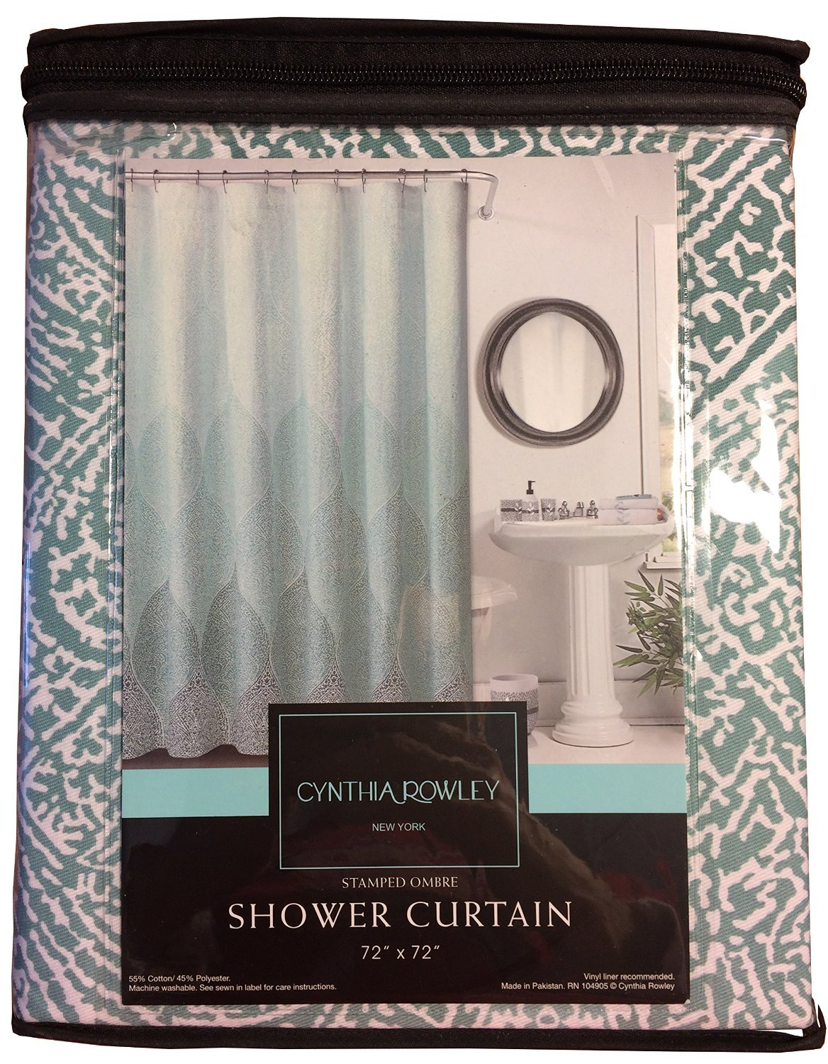 Amazoncom Cynthia Rowley Fabric Shower Curtain Stamped Ombre - Brown and turquoise shower curtain
