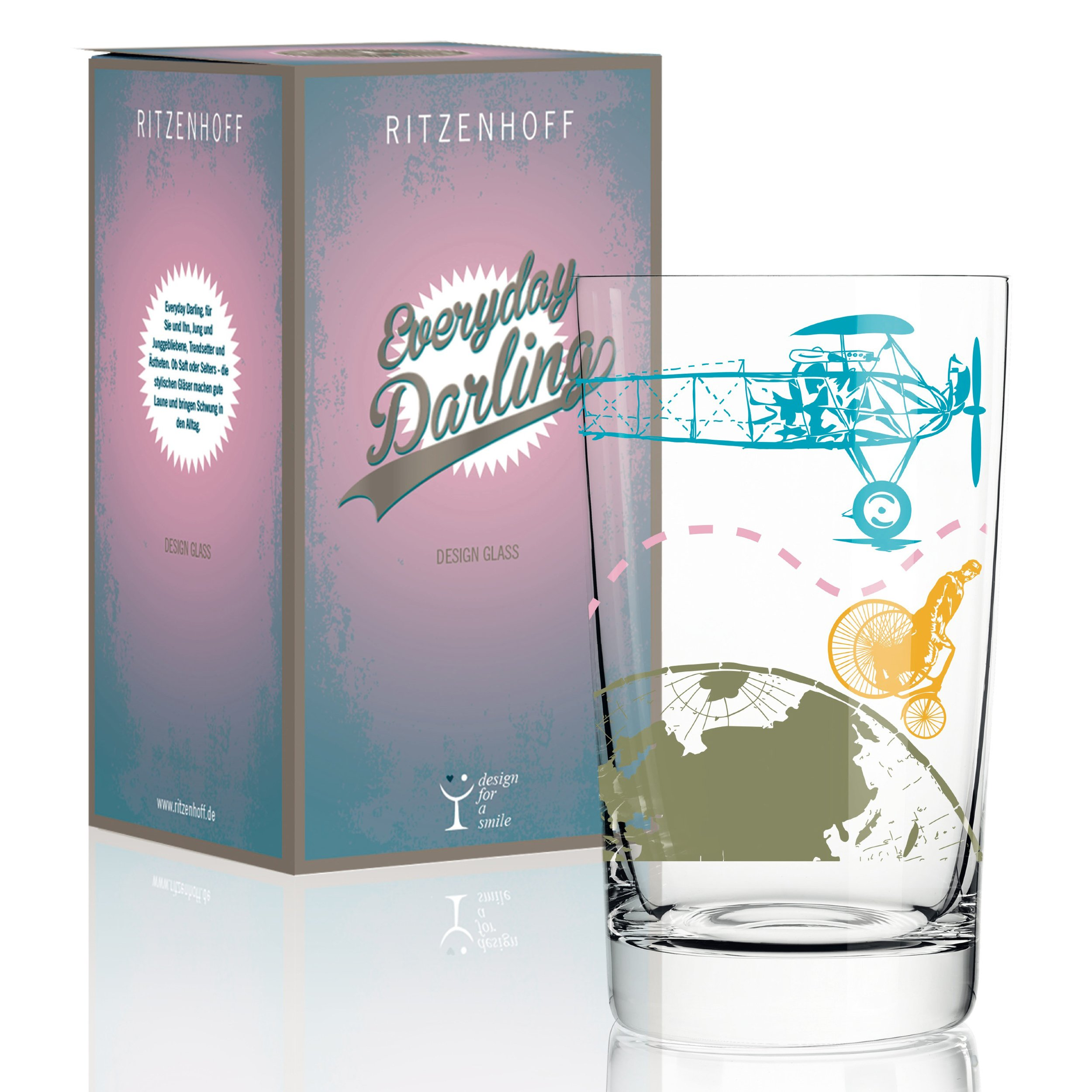RITZENHOFF Everyday Darling Soft Drink Glass by Pedrazzini/Perilli 300ml Crystal Glass with Trendy Decorations