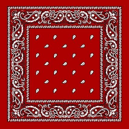 e8260106a730 TC-Accessories Bandana en coton Rouge Motif Paisley Noir et Blanc Taille L