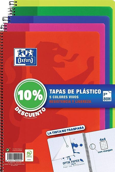 Cuadernos Folio(A4) Oxford. Pack 5 unidades. Tapa Plástico. 80 Hojas cuadrícula 4x4. Surtido colores vivos.: Amazon.es: Oficina y papelería
