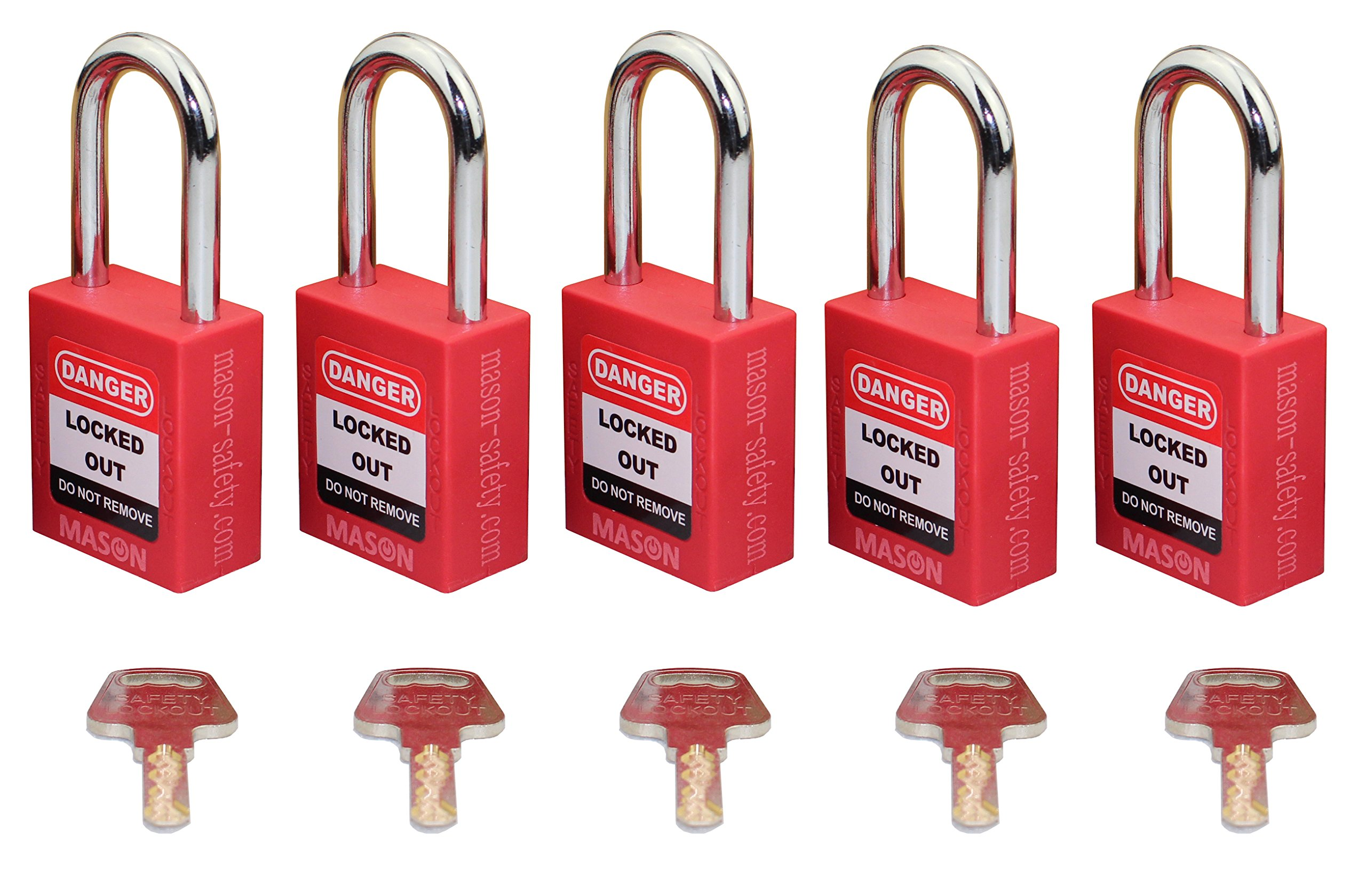 Mason Lockout Tagout 5 PACK KEYED DIFFERENTLY Safety Lockout Padlock, Red LOTO