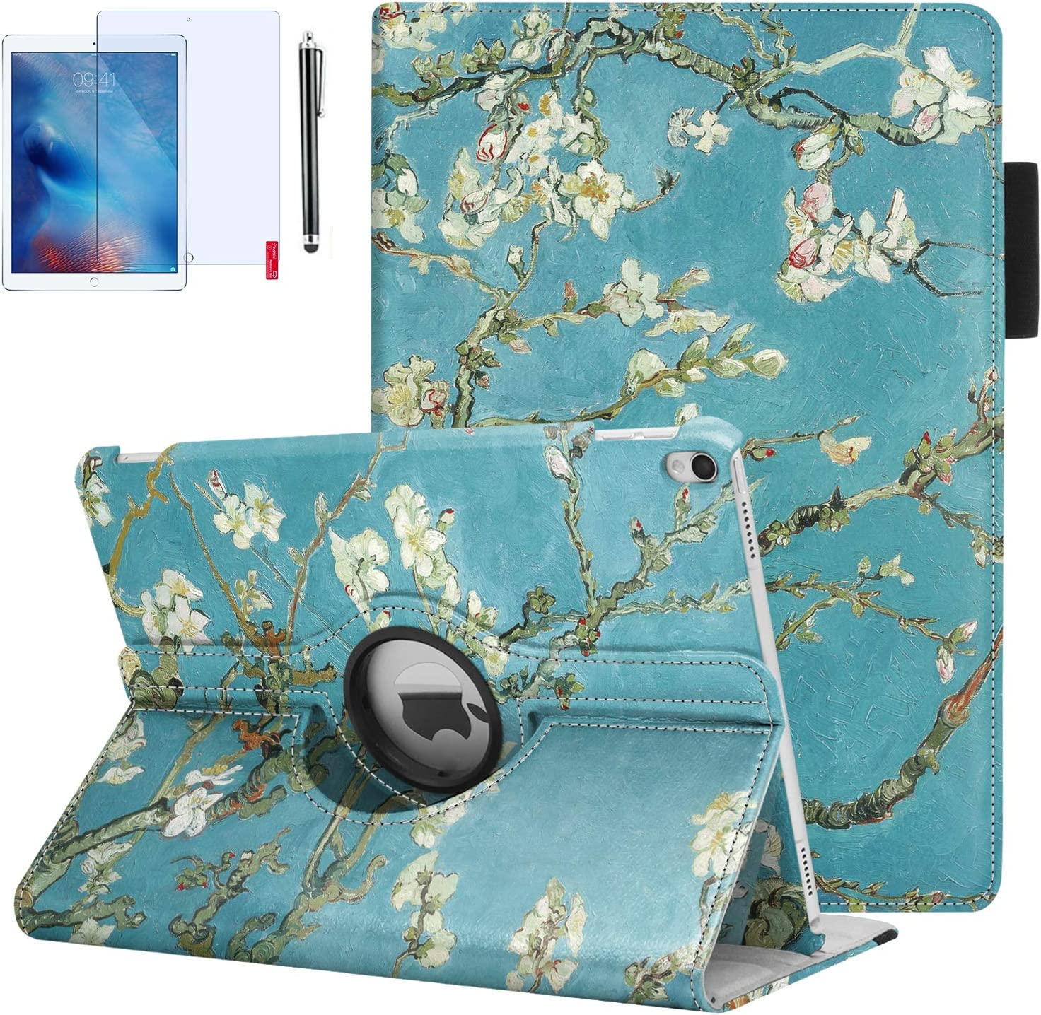 iPad Air 3 Case, iPad Pro 10.5 Case with Pencil Holder, 360 Degrees Rotating, Hand Strap, Auto Wake/Sleep for iPad Air 3rd Generation Case (Almond Blossoms)