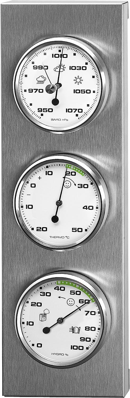 Sunartis 3-4013 THB197 - Estación meteorológica de acero inoxidable con termómetro, hid´rografo y barómetro