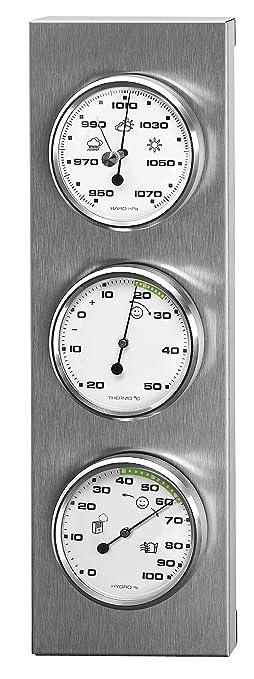 123 opinioni per Sunartis 3-4013 THB197 Stazione metereologica in acciaio INOX con barometro,
